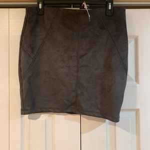 New! Suede Gray Pencil Skirt